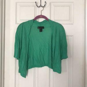 Lane Bryant green short sleeve shrug cardigan